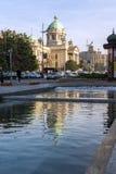 Nationale assemblee van de Republiek in het centrum van stad van Belgrado, Servi? stock foto's