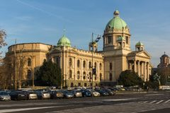 Nationale assemblee van de Republiek in het centrum van stad van Belgrado, Servi? royalty-vrije stock afbeeldingen
