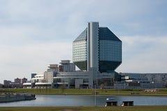 Nationale Bibliothek von Belarus (rückseitige Ansicht) Stockfotografie