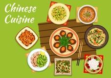 Nationale Chinese keukenschotels voor menuontwerp vector illustratie