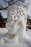 Nationale Concurrentie van het sneeuwbeeldhouwwerk - Meer Genève, WI Royalty-vrije Stock Foto