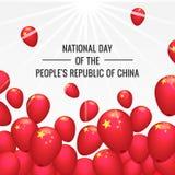 Nationale dag van het conceptenachtergrond van China, isometrische stijl stock illustratie