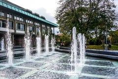 Nationale de Bibliotheekfonteinen van Belgrado stock foto