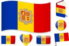 Nationale de vlag vectorillustratie van Andorra in verschillende vormen stock illustratie