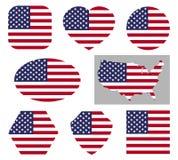 Nationale de vlagpictogrammen van de V.S. stock illustratie