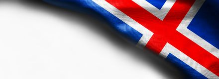 Nationale die vlag van IJsland op witte achtergrond wordt geïsoleerd stock fotografie