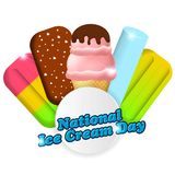 Nationale Eiscreme-Tagesvektorillustration für Grußkarte, -plakat und -fahne Stockbilder