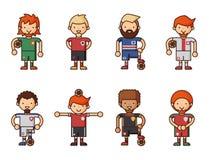 Nationale Eurocupfußball-Fußballteams vector Illustrations- und Weltspielspielerkapitänführer in den einheitlichen Sportmännern Stockbilder