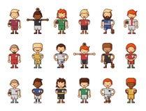 Nationale Eurocupfußball-Fußballteams vector Illustrations- und Weltspielspielerkapitänführer in den einheitlichen Sportmännern Lizenzfreies Stockfoto