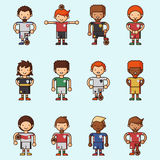 Nationale Eurocupfußball-Fußballteams vector Illustrations- und Weltspielspielerkapitänführer in den einheitlichen Sportmännern Lizenzfreie Stockfotos