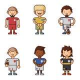 Nationale Eurocupfußball-Fußballteams vector Illustrations- und Weltspielspielerkapitänführer in den einheitlichen Sportmännern Stockfotos