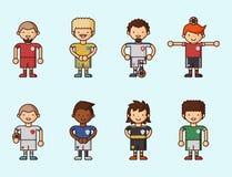 Nationale Eurocupfußball-Fußballteams vector Illustrations- und Weltspielspielerkapitänführer in den einheitlichen Sportmännern Stockfoto