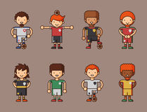Nationale Eurocupfußball-Fußballteams vector Illustrations- und Weltspielspielerkapitänführer in den einheitlichen Sportmännern Lizenzfreie Stockbilder