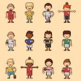 Nationale Eurocupfußball-Fußballteams vector Illustrations- und Weltspielspielerkapitänführer in den einheitlichen Sportmännern Lizenzfreies Stockbild