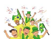 Nationale Fußballteamanhänger, die für die Spieler zujubeln Fußballfane mit nationalen Attributen Farbiger flacher Vektor lizenzfreie abbildung