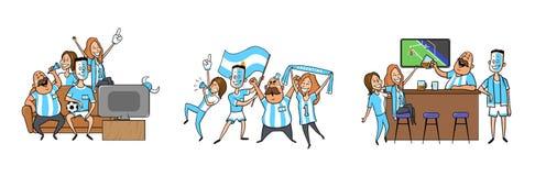 Nationale Fußballteamanhänger, die zu Hause zusammen, in der Stange zujubeln Satz Fußballfane mit nationalen Attributen stock abbildung
