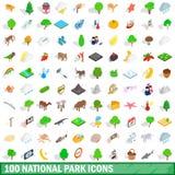 100 nationale geplaatste parkpictogrammen, isometrische 3d stijl vector illustratie