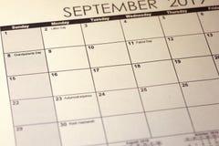 Nationale Grootouders Dag 2019 in de Verenigde Staten van Amerika in selectieve nadruk op de eenvoudige kalender van September 20 royalty-vrije stock afbeelding