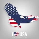 Nationale het symbooladelaar van de V.S. met een officieel vlag en kaartsilhouet Kaarten van de beeldspraak van NASA Vector vector illustratie