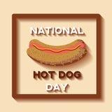 Nationale Hotdog-Tageshintergrundschablone Stockbilder