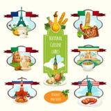 Nationale Küche-Aufkleber Stockbilder