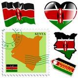 Nationale kleuren van Kenia Stock Afbeelding