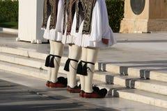 Nationale Kostuum Griekse militairen Athene Stock Foto