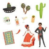Nationale kulturelle Symbole von Mexiko Decke mit ethnischem Muster, Sombrero, Kaktus, Schädel, Taco, Tequila, maracas lateinisch lizenzfreie abbildung