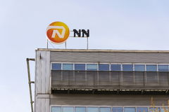 Nationale-Nederlanden from NN Group insurance company logo on building of the Czech headquarters. PRAGUE, CZECH REPUBLIC - MARCH 3: Nationale-Nederlanden from NN Royalty Free Stock Photo