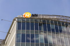 Nationale-Nederlanden from NN Group insurance company logo on building of the Czech headquarters. PRAGUE, CZECH REPUBLIC - MARCH 3: Nationale-Nederlanden from NN Stock Images