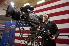 Nationale Presse und Fernsehkameramänner Stockfotografie