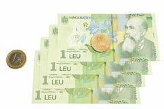 Nationale Roemeense munt, leu romanesc Stock Foto