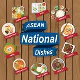 Nationale schotels van ASEAN op houten achtergrond Royalty-vrije Stock Afbeeldingen