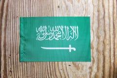 Nationale textielvlag op houten lijst Stock Afbeeldingen
