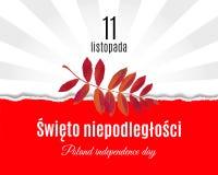 Nationale Unabhängigkeitstagübersetzung Polens auf Polnischem Heftige Papier Polen-Flagge und Gebirgseschenblattplakat mit heller lizenzfreie abbildung