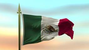 Nationale Vlag die van Mexico in de wind tegen de van de achtergrond zonsonderganghemel langzame motie Naadloze Lijn golven stock illustratie