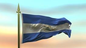 Nationale Vlag die van Nicaragua in de wind tegen de van de achtergrond zonsonderganghemel langzame motie Naadloze Lijn golven vector illustratie