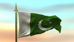 Nationale Vlag die van Pakistan in de wind tegen de van de achtergrond zonsonderganghemel langzame motie Naadloze Lijn golven stock illustratie