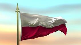 Nationale Vlag die van Polen in de wind tegen de van de achtergrond zonsonderganghemel langzame motie Naadloze Lijn golven stock illustratie