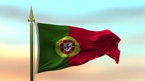 Nationale Vlag die van Portugal in de wind tegen de van de achtergrond zonsonderganghemel langzame motie Naadloze Lijn golven vector illustratie