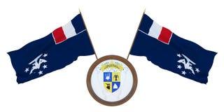 Nationale vlag en de wapenschild 3D illustratie van Frans southernd antarctisch land Achtergrond voor redacteurs en ontwerpers stock illustratie