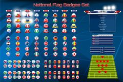 Nationale Vlag met Scoreborduitzending en Lager Derdenmalplaatje voor Voetbaltoernooien stock illustratie