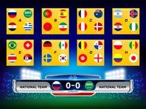 Nationale Vlag met Scoreborduitzending en Lager Derdenmalplaatje voor Voetbaltoernooien royalty-vrije illustratie