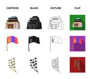 Nationale vlag, paard, muzikaal instrument, steppeinstallatie Vastgestelde de inzamelingspictogrammen van Mongolië in beeldverhaa vector illustratie