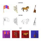 Nationale vlag, paard, muzikaal instrument, steppeinstallatie Vastgestelde de inzamelingspictogrammen van Mongolië in beeldverhaa stock illustratie