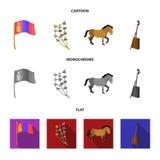 Nationale vlag, paard, muzikaal instrument, steppeinstallatie Vastgestelde de inzamelingspictogrammen van Mongolië in beeldverhaa royalty-vrije illustratie