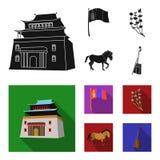 Nationale vlag, paard, muzikaal instrument, steppeinstallatie Vastgestelde de inzamelingspictogrammen van Mongolië in zwart, vlak royalty-vrije illustratie