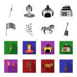 Nationale vlag, paard, muzikaal instrument, steppeinstallatie Vastgestelde de inzamelingspictogrammen van Mongolië in zwart-wit,  stock illustratie