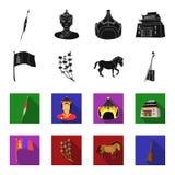 Nationale vlag, paard, muzikaal instrument, steppeinstallatie Vastgestelde de inzamelingspictogrammen van Mongolië in zwarte, fle royalty-vrije illustratie