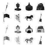 Nationale vlag, paard, muzikaal instrument, steppeinstallatie Vastgestelde de inzamelingspictogrammen van Mongolië in zwarte, zwa vector illustratie